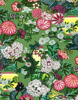 Chiang Mai fabric by Schumacher in emerald available at Delicious Designs serving Hingham, Cohasset and Norwell and Boston's South Shore.