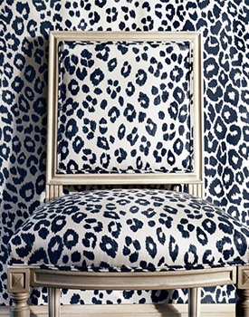 Iconic Leopard in Ink by Schmacher available at Delicious Designs Home, serving the South Shore of Boston.